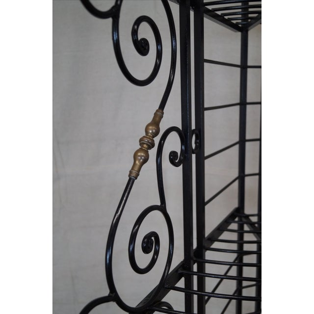 Quality Vintage French Iron Corner Bakers Rack - Image 5 of 10