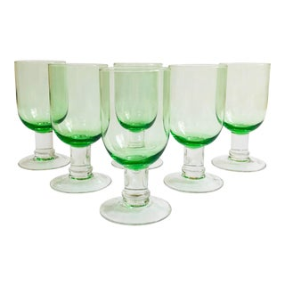 Vintage Contemporary Green WIne Glasses - Set of 6 For Sale
