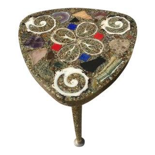 Vintage Shell/Stone/Quartz Resin Encased Side Table For Sale