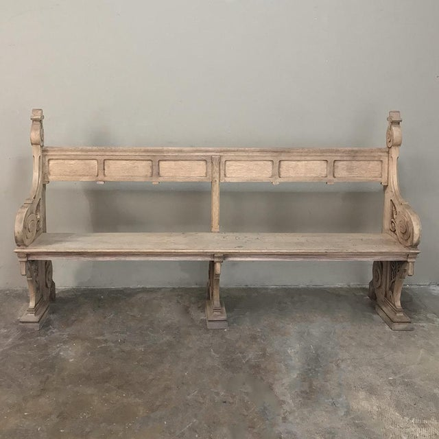 19th Century Gothic Stripped Oak Church Pew For Sale - Image 13 of 13