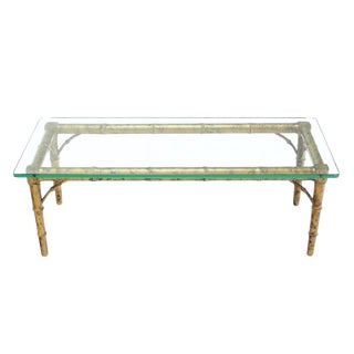 Drexel Lacquered Wood Faux Bamboo & Glass-Top Rectangular Coffee Table For Sale