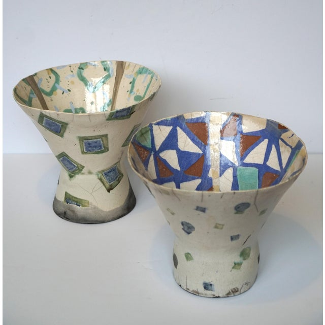 Rustic Patterned Pottery Vases - A Pair - Image 6 of 8