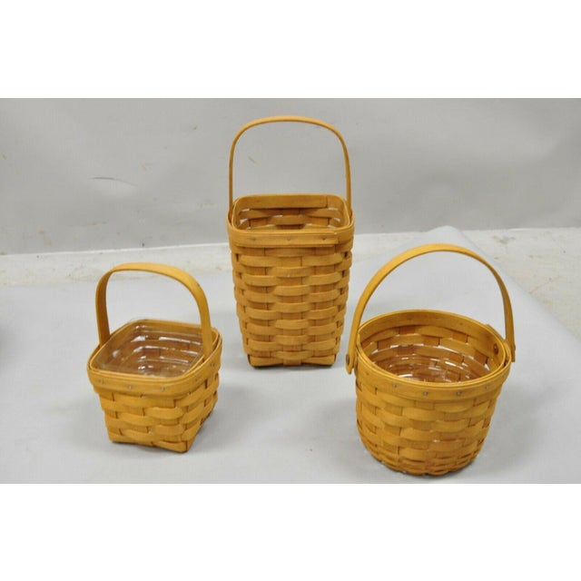 Mid-Century Modern Vintage 1990s Longaberger Basket Lot Wine Berry Wall Pocket Lid Round - 9 Pieces For Sale - Image 3 of 13