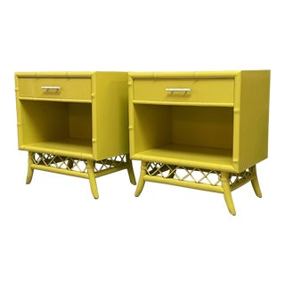 Rattan and Faux Bamboo Nightstands, a Pair For Sale
