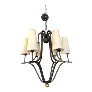 Edward.D.Lobrano - Six-Light Bronze & Gold Chandelier For Sale