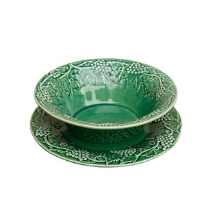 Bordallo Pinheiro Ceramic Serving Bowl & Plate For Sale