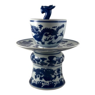Qing Chinese Cobalt Blue & White Porcelain Dragon Censer For Sale