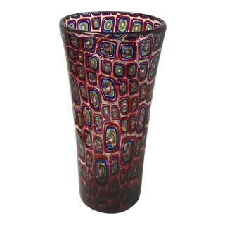 Adriano Dalla Valentina Murano Art Glass Murrine Vase For Sale