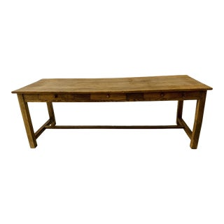 French Pine Library Table With Drawers For Sale