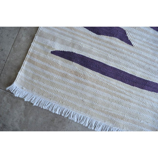 White Paul Klee - Heroic Strokes of the Bow - Inspired Silk Hand Woven Area - Wall Rug 4′9″ × 6′3″ For Sale - Image 8 of 10