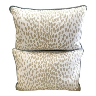 Duralee Neutral Leopard Print Pillows - A Pair For Sale