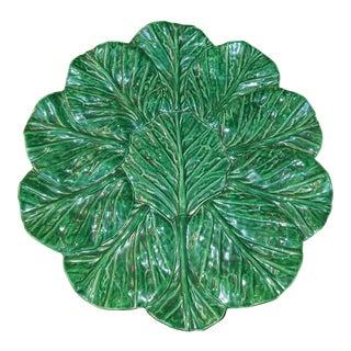 Large Jan Pugh Signed Majolica Studio Pottery Round Leaf Platter