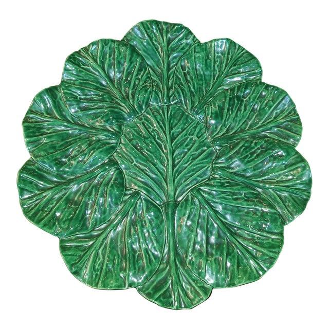 Large Jan Pugh Signed Majolica Studio Pottery Round Leaf Platter For Sale