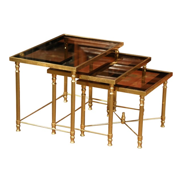 Set of Early 20th Century, French Brass Nesting Tables Gigognes For Sale