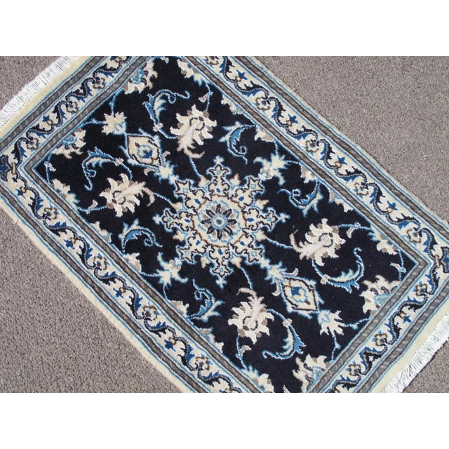 Rug: handmade wool and part silk persian nain; material: made of the finest baby lamb's wool and part pure silk pile, all...
