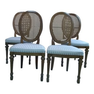 8195ae214cb Vintage Mid Century Drexel Francesca Louis XV French Oval Back Dining Chairs-  Set of 4