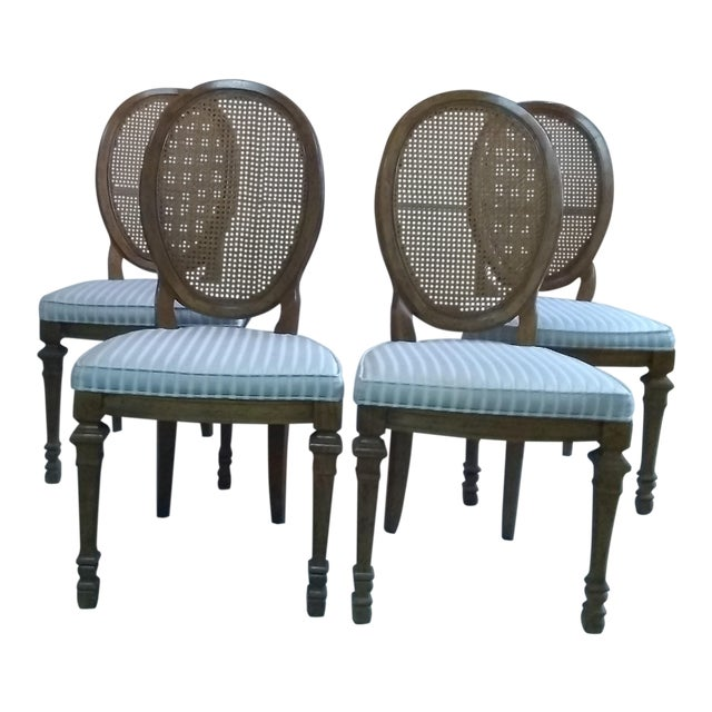 Vintage Mid Century Drexel Francesca Louis XV French Oval Back Dining Chairs- Set of 4 For Sale