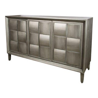 Mid-Century Modern Delancey Silver Wood Sideboard For Sale