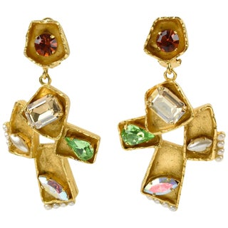 Christian Lacroix Paris Signed Oversized Dangling Jeweled Cross Clip Earrings For Sale