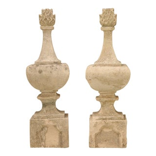 Original C.1820 Antique French Hand-Cut Stone Flaming Finials - A pair