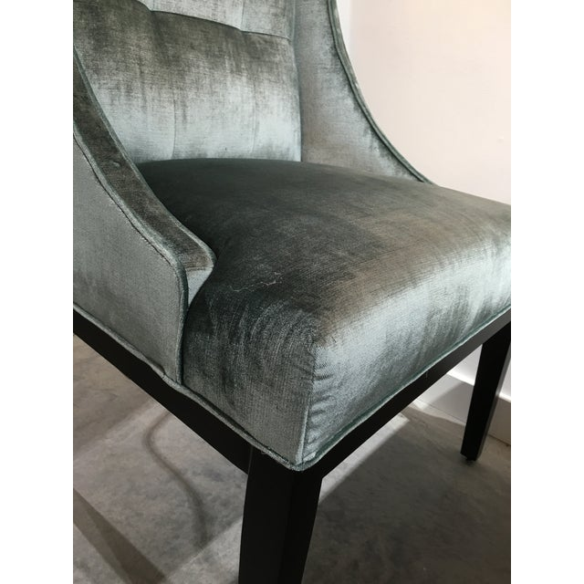 Blue Velvet Designmaster Furniture Franklin Host Wing Chairs - a Pair For Sale - Image 8 of 11