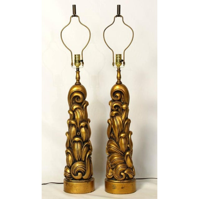 Sculptural Gilt Wood Table Lamps - A Pair For Sale - Image 4 of 10