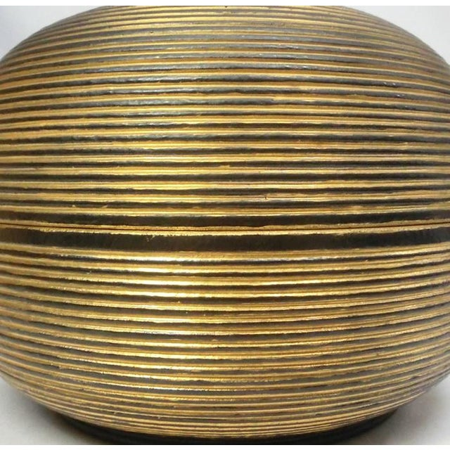 Japanese Ceramic Gilded Gold Black Lidded Container Dome Shape Art Deco Style Box Asian For Sale - Image 4 of 12