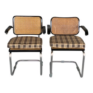 Mid-Century Modern Ebonized Breuer Cane Cantilevered Arm Chairs for Knoll International - a Pair For Sale