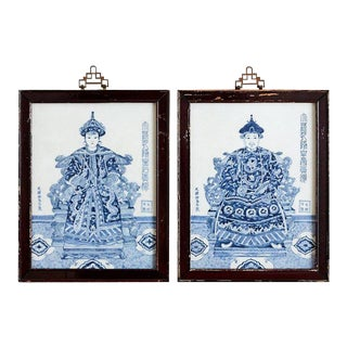 Pair of Chinese Qing Style Blue and White Porcelain Plaques For Sale