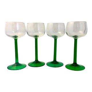Kelly Green French Dessert Glassware - Set of 4 For Sale