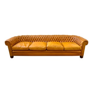 English X-Long Button Tufted Leather Chesterfield Sofa For Sale