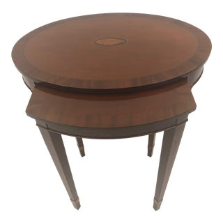 Handsome Oval Mixed Wood Inlaid Nesting Table For Sale