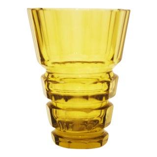 Yellow Bohemian Art Deco crystal vase For Sale