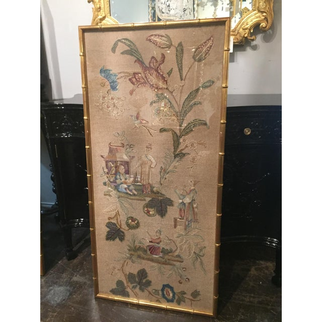 Set of 3 English Silk Embroideries in Gilt Frame For Sale - Image 4 of 9