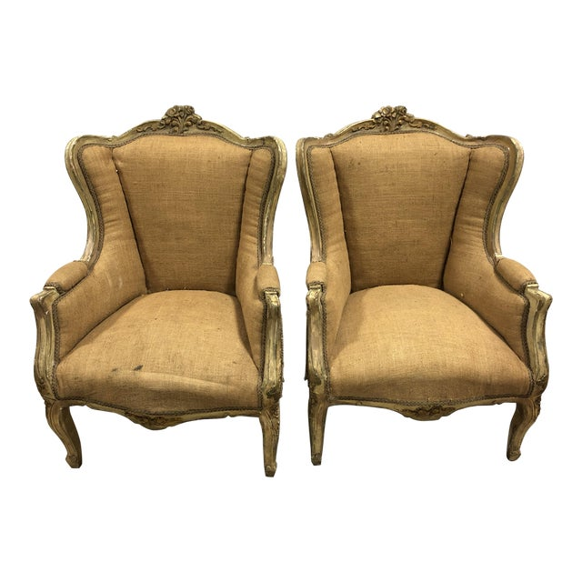 C.20 Louis XVI French Gold Leaf Bergeres - a Pair For Sale