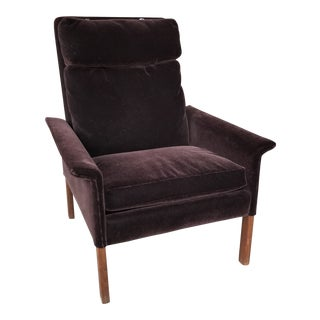1960's Midcentury Mohair Armchair With Rosewood Legs For Sale