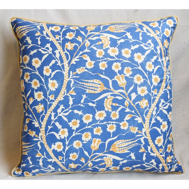 """Boho Chic Clarence House Floral Fabric Feather/Down Pillows 24"""" Square - Pair For Sale - Image 3 of 13"""