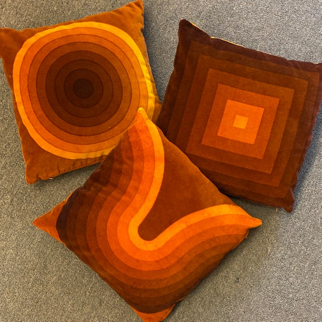 Rare Verner Panton Set of 3 Velour Pillows. 1970s oranges to browns to yellows velour pillows- super iconic of the time...