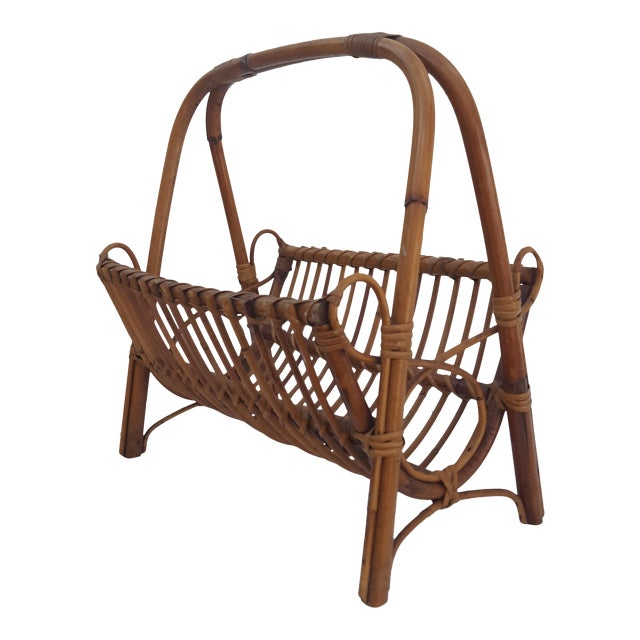 Italian Original Franco Albini Rattan and Bamboo Magazine Rack For Sale