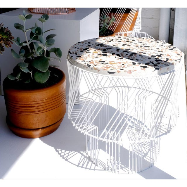 Metal Contemporary Indoor/Outdoor Terrazzo Table in White For Sale - Image 7 of 9