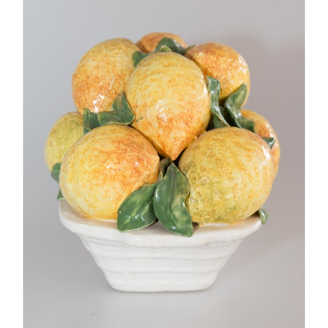Farmhouse Vintage Italian Majolica Lemons Basket For Sale - Image 3 of 7