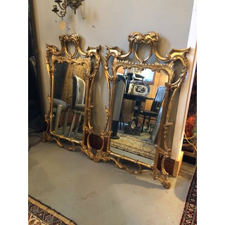 Chippendale Style Mid Century Hand Carved Gilt Italian Rococo Mirrors - a Pair Preview
