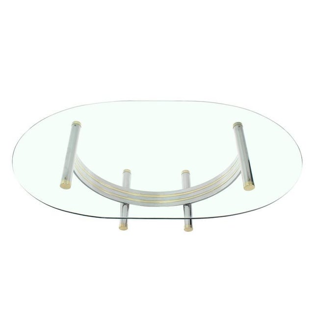 WorldClass Large Oval Glass Brass Chrome Dining Conference Table - Large oval conference table