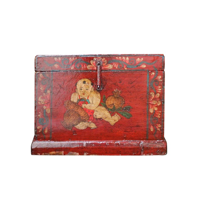 Chinese Vintage Red Kids Theme Trunk Box Chest For Sale In San Francisco - Image 6 of 9