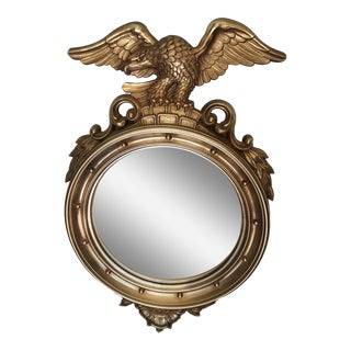 Vintage Syroco Bulls Eye American Eagle Gold Painted Mirror For Sale