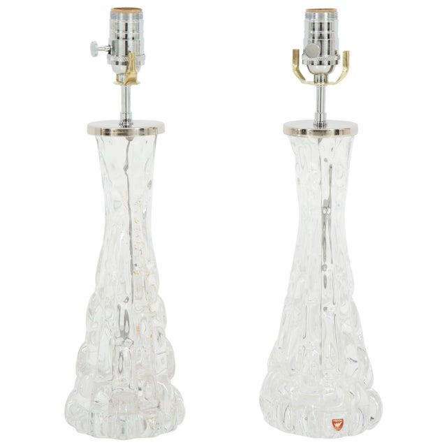 Orrefors Crystal Lamps - A Pair For Sale - Image 11 of 11