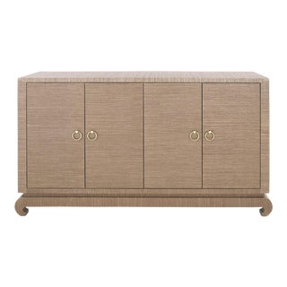 Bungalow 5 Meredith Lacquered Brown Grasscloth 4-Door Sideboard Console Cabinet