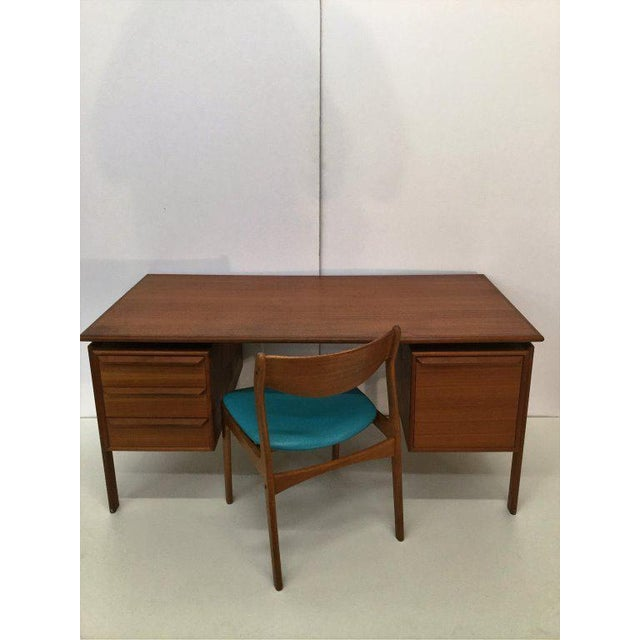 Teak Danish Teak Double Pedestal Desk with Matching Chair For Sale - Image 7 of 10