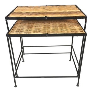 Wrought Iron & Rattan Top Nesting Tables - A Pair For Sale