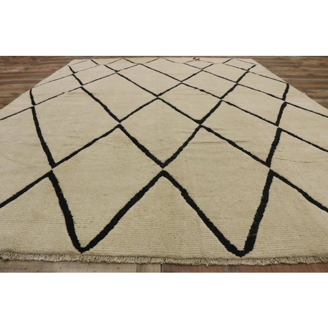 Textile Contemporary Moroccan Area Rug With Modern Style - 10'02 X 13'05 For Sale - Image 7 of 10